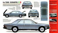 Fiat 130 Coupe SPEC SHEET / Brochure / Pamphlet: 1971,1972,1973,1974,1975