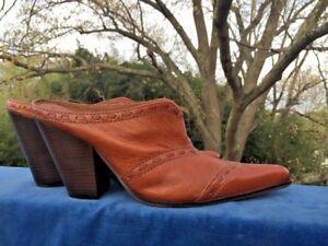 NINE WEST Line Dance Cowboy Boots High Heel Leather Clogs Mules Women Shoes Sz 8