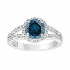 Fancy Enhanced Blue Diamond Engagement Ring 1.87 Carat 14K White Gold Halo Pave