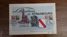 1 x FDC PREMIER JOUR FRANCE liberations de Strasbourg 22-08-1964 2 Cachets