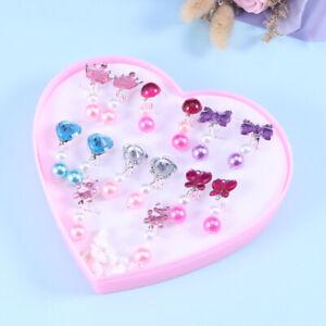 7Pairs Lovely Panada Flower Earrings Clip-On No Pierced Design For Kids Girls OQ