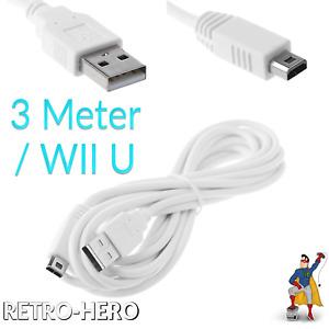 Wii U Ladekabel USB für Controller Daten Kabel Gamepad Stromkabel Netzteil - 3m