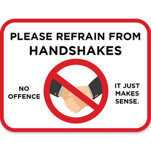 Notice Social Distancing no hand shake sticker label for shop or house