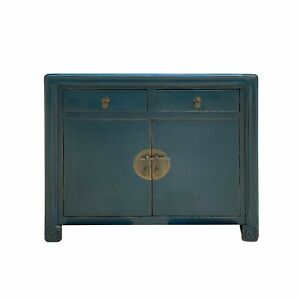 Distressed Teal Blue Lacquer Scroll Legs Oriental Mid Side Table Cabinet cs6931