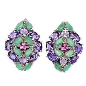 Unheated Oval Purple Amethyst Emerald Sapphire Gems 925 Sterling Silver Earrings