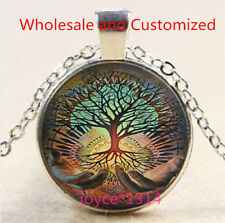 Vintage Tree of Life Cabochon Tibetan silver Glass Chain Pendant Necklace #6348