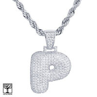 "P Initial Silver Plated Custom Bubble Letter Iced CZ Pendant 24"" Chain Necklace"