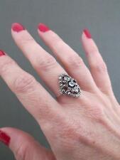 Vintage Art Deco Marcasite Topaz Silver Ring