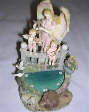 Tabletop Musical (Fur Elise) Water Fountain Angel Cherubs Lion Lamb Birds WORKS