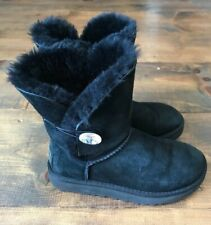 Womens UGG Boots-Winter-Shoes-Black-Bailey Bling-Swarovski Crystal Button-Size 6