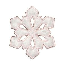 ID 8124 Fuzzy Snowflake Patch Winter Christmas Ice Embroidered Iron On Applique