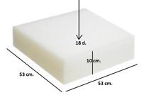 Spugna Gommapiuma 53x53x10 densità 18 poliuretano Espanso tappezzeria imbottiti