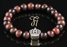 Rouge Oeil de Tigre 8mm Bracelet Perles Coloris Argent Couronne