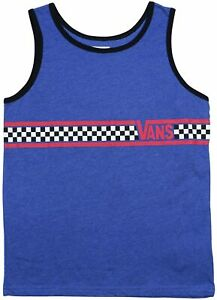 Vans Off The Wall Boys Kids Shore Bru Tank Top Shirt - Blue (X-Large)