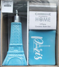 PARIS EIFFEL TOWER SOAP DISH PUMP LOTION DISPENSER 2 PC SET BABY BLUE BATH DECOR