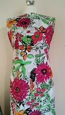 """Bright Vivid Leafy Floral SILKY CREPE Fabric Summer Dress Material 60""""Width Pink"""
