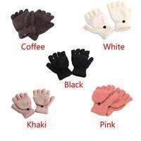 Winter Fall Unisex Wrist Fingerless Glove Women Half Finger Flip Mitten Gloves