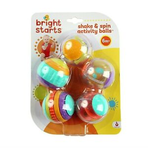 Bright Starts Shake & Spin Activity Balls Rattle Spinner, Clicking Sound 6m +