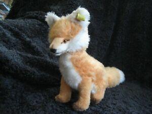Rare 1968/80 German Steiff Fox w. Button & Tag ! Cosy Fuzzy !