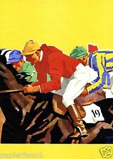 Turf von Ludwig Hohlwein XL Reklame Kunstdruck 1937 Pferderennen Jockey Pferde