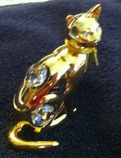 GOLD PLATED-24 K CAT BY KG & C AUSTRALIAN CRYSTAL- BEAUTIFUL!!!