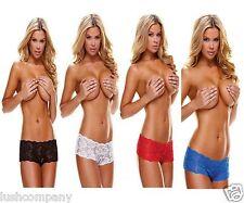 Women Sexy Lingerie Crotchless Lace Boyshort-Knicker-Panty-Ann Devine Plus size