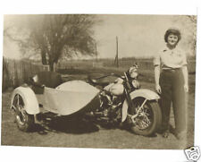 Vintage Harley Davidson Motorcycle & Side Car 1945 Big Fenders Lady Rider GREAT