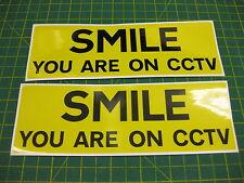 2 Pegatinas de sonrisa en CCTV para el hogar de 200mm X 65mm