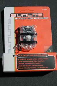SUNLITE HL-L600 USB Head Front Light 6 LED - Bike Bicycle Safety Clear NEW!