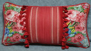 NEW Self Corded Pillow made w Ralph Lauren Beach House Red Floral Fabric 22x12