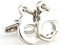 Handcuffs Cufflinks Police FBI CIA DEA Wedding Fancy Gift Box Free Ship USA