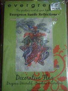 """NEW EVERGREEN SUEDE REFLECTIONS """"CRANBERRY DELIGHT""""BIRDS&BERRY LARGE FLAG 29x43"""""""
