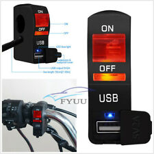 Waterproof 12V Red LED Motorcycle ATV Headlight Switch 1USB With Indicator Light