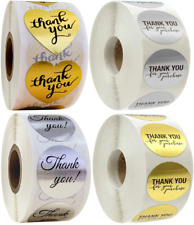 Thank You Stickers Purchase Labels Gold Silver Round Heart Hand Made Shiny 25mm