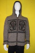 XL Gray Tiger Festival Wool Patchwork Knit Hippie Hoodie Jacket Boho Cardigan