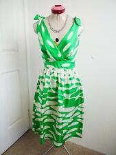 COLLETTE by COLLETTE DINNIGAN White Green DRESS Size XXS 6 Retro Bows Fit&Flare