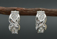 14K Solid White Gold Kisses Created Diamond Huggie Earrings