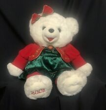 Snowflake Teddy Large White Christmas Plush Stuffed Bear Dated 2001