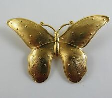 Vintage Estate Large Textured Gold Butterfly Brooch Pin Bridal with Barrel Clap