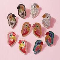 Fashion Luxury Shiny Parrot Crystal Statement Drop Dangle Earrings Bird Earrings