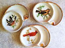 3 Ucagco Ceramics Individual Porclain Bird Ashtrays Coasters~ Made in Japan