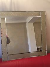 Sparkle Glitter Gold Bevelled Square Mirror 60 X 60cm Living Dining Room
