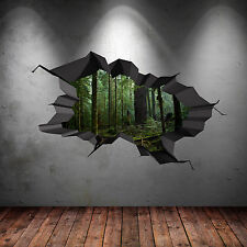 Full Colour Woods Forest Trees Jungle Cracked 3d Wall Art Sticker Decal Mural 3