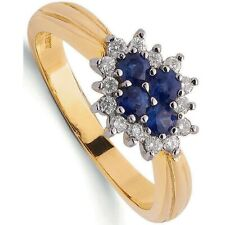 Sapphire and Diamond Ring Engagement Yellow Gold Cluster Certificate