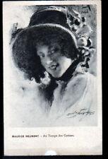 ART PORTRAIT de FEMME & Chapeau / AU TEMPS DES CERISES par Maurice NEUMONT 1909