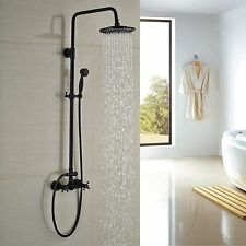 """8""""Oil Rubbed Bronze Rainfall Shower Faucet Round Shower Head W/Handheld Shower"""