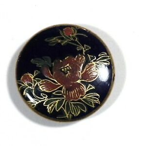 "Vtg Satsuma Japanese Hand Painted Ceramic Porcelain BUTTON Red Flower 1 1/8"""