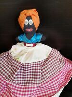 Vintage Topsy Turvy Clothes Doll African American Hand Painted Faces Folk Art