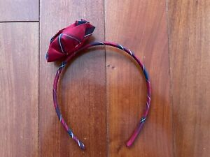 NWOT Janie & Jack Girls Holiday Traditions Red Navy Blue Plaid Rose Headband New