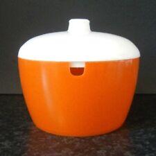 VINTAGE SNAITHWAY ORANGE PLASTIC SUGAR BOWL with WHITE PLASTIC LID